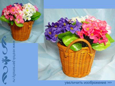 декоративная композиция с искусственными цветами