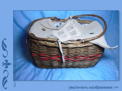 плетеная корзина кантри для пикника