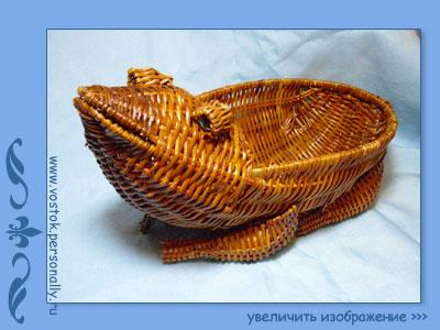 корзинка кашпо плетеная лягушка