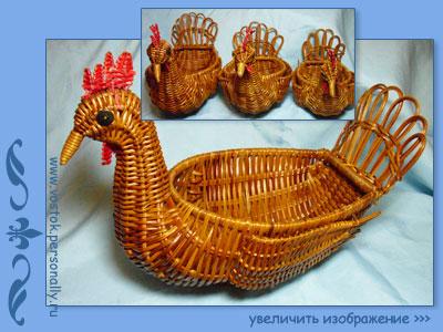 корзинка кашпо плетеная птичка