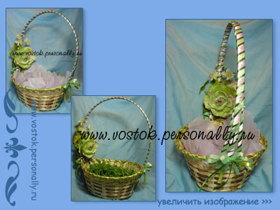 плетенная корзина с декором