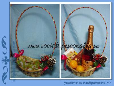 плетенная корзина с декором для подарка