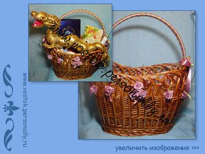 плетеная корзина для подарка с декором