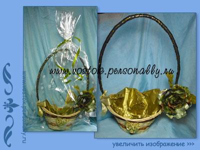 плетенная корзинка декорированная