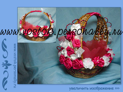плетенная корзина из лозы с декором для подарка