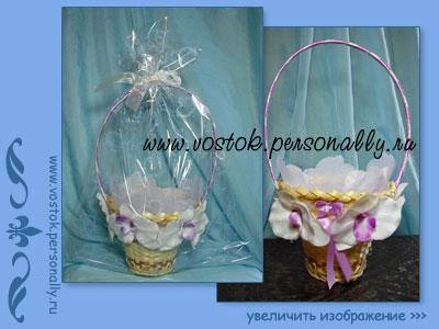 плетеная корзина для подарка декорированная