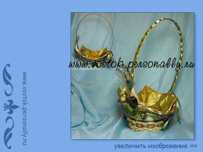 плетенная корзина с декором подарочная